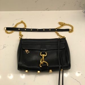 Rebecca Minkoff cross body black and gold